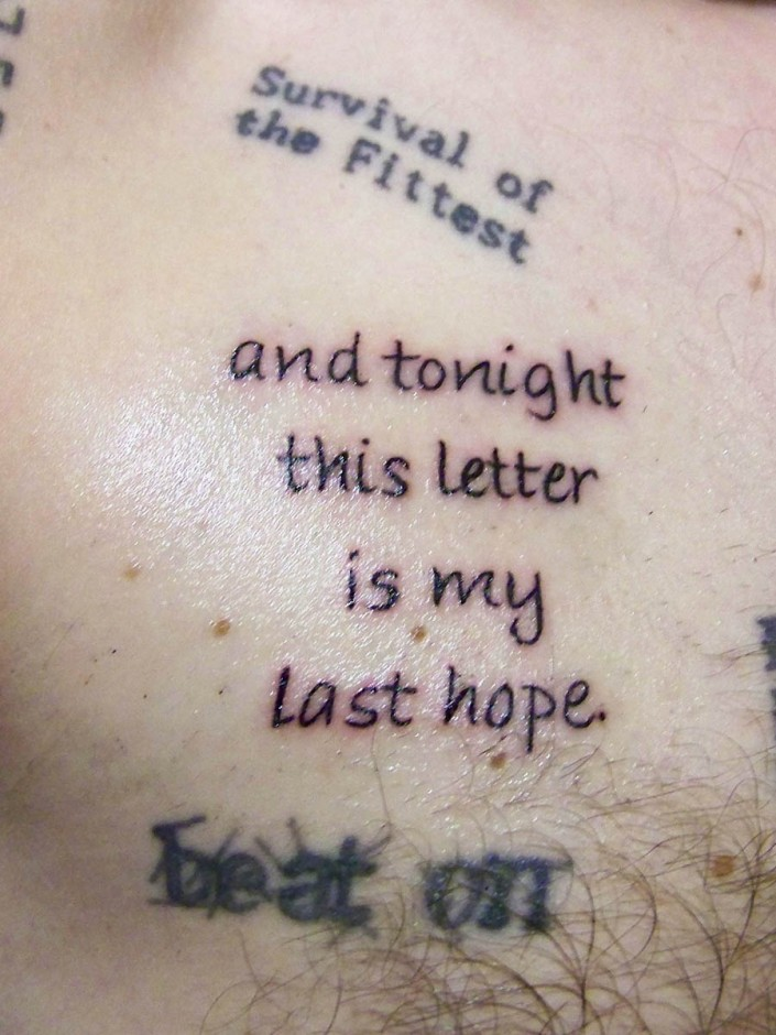and tonight this letter is my last hope