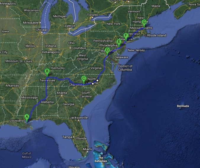 New Orleans to Boston