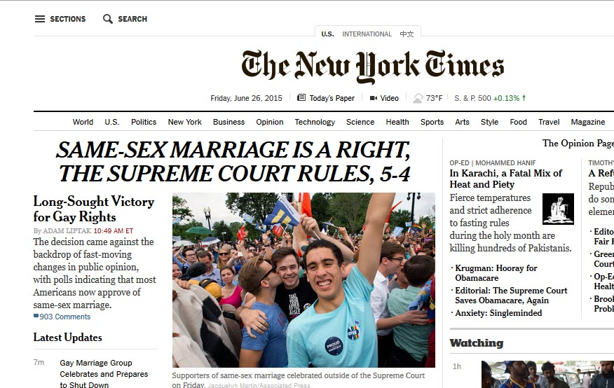 New york times same sex marriage